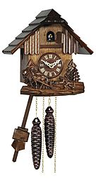 Quartz cuckoo clock with hand-carved horses