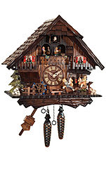 Quartz cuckoo clock with music & dancing couples