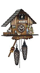 Quartz Cuckoo clock with music & dancing couples as Heidi chalet