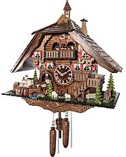Quartz-cuckoo clock with music & dancing couples
