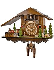 Quartz cuckoo clock with music and dancing couples