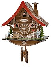 Cuckoo clock with 1-day movement