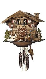 Mechanical cuckoo clock with shingle roof, music & dancing couples
